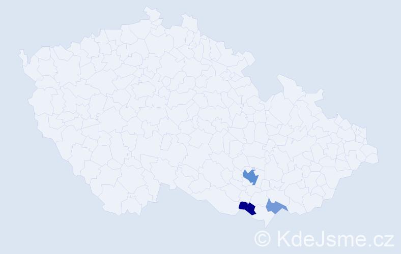 Příjmení: 'Čapovová', počet výskytů 7 v celé ČR
