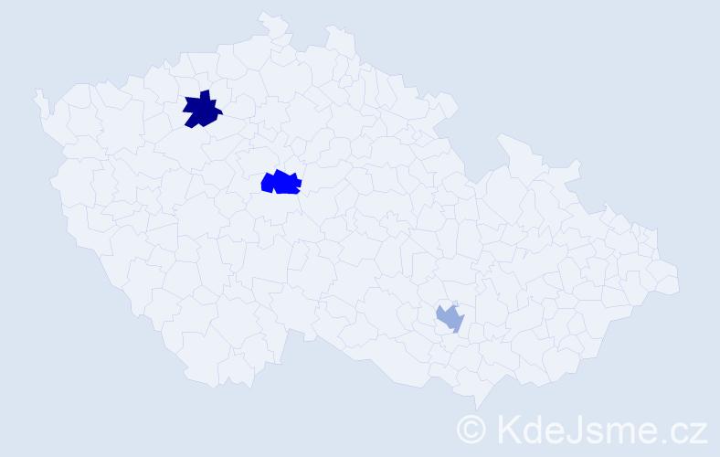 """Příjmení: '""""La Marca""""', počet výskytů 3 v celé ČR"""
