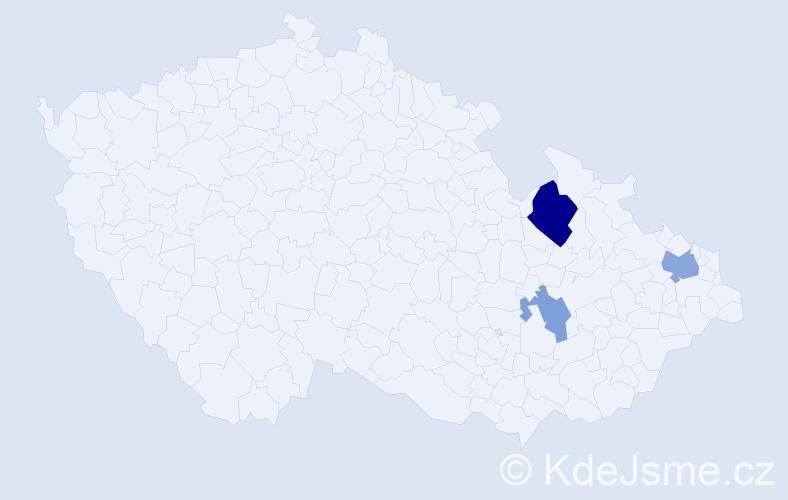 Příjmení: 'Kallyová', počet výskytů 6 v celé ČR