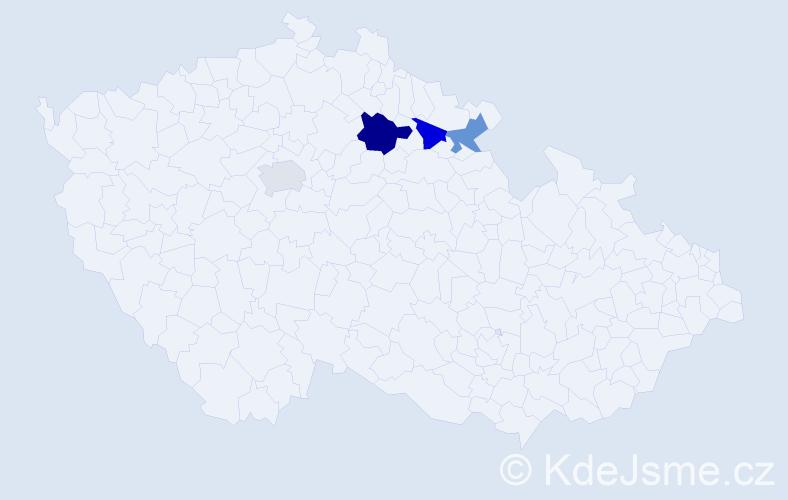 Příjmení: 'Fuglová', počet výskytů 5 v celé ČR