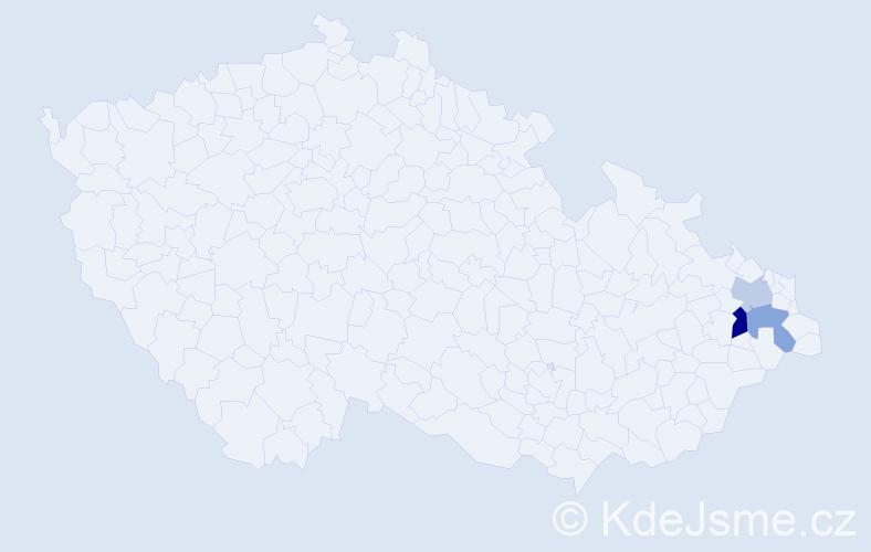 Příjmení: 'Huške', počet výskytů 4 v celé ČR
