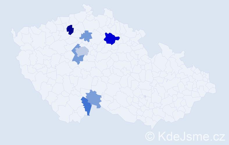 Příjmení: 'Kriso', počet výskytů 15 v celé ČR