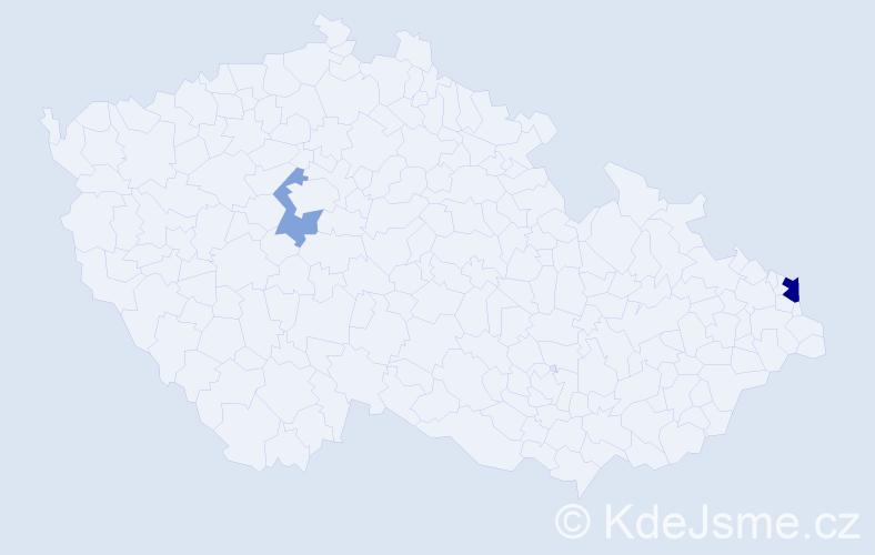 Příjmení: 'Čapčíková', počet výskytů 8 v celé ČR