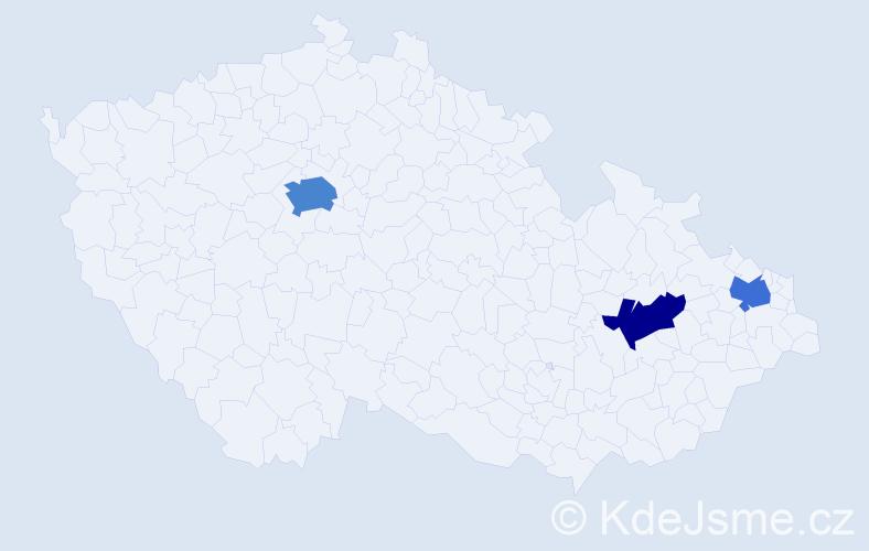 Příjmení: 'Biriczová', počet výskytů 5 v celé ČR