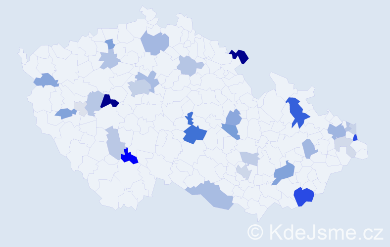 Příjmení: 'Líška', počet výskytů 72 v celé ČR