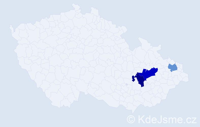 Příjmení: 'Egg', počet výskytů 13 v celé ČR