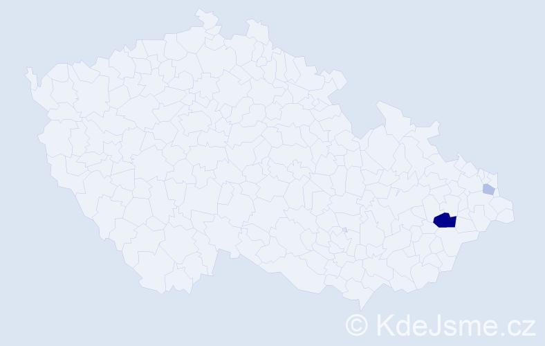 Příjmení: 'Chriašteľ', počet výskytů 5 v celé ČR