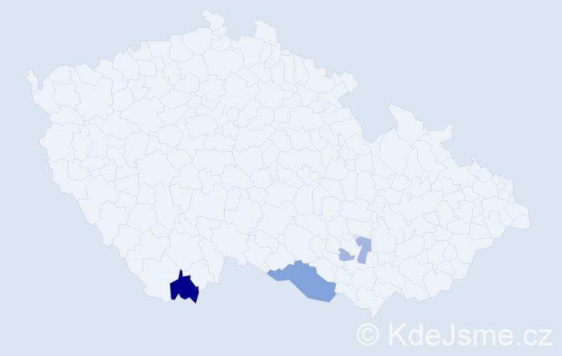 Příjmení: 'Innocenti', počet výskytů 5 v celé ČR