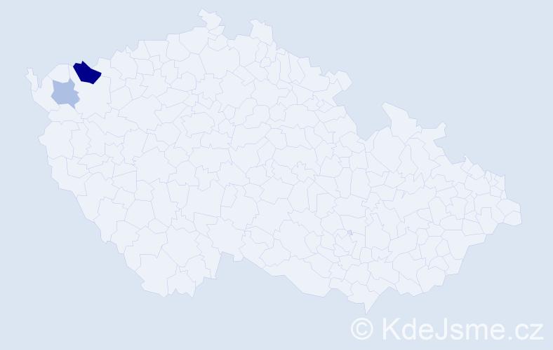Příjmení: 'Bábalová', počet výskytů 4 v celé ČR