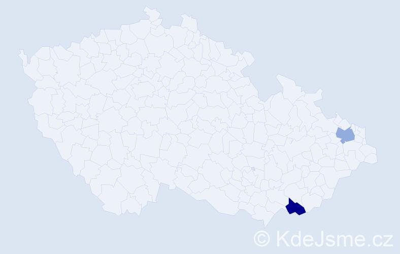 Příjmení: 'Ihnatiková', počet výskytů 2 v celé ČR