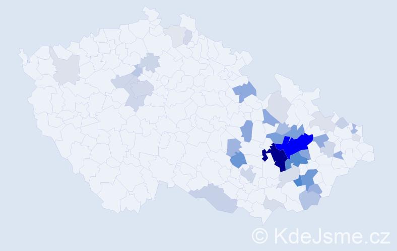 Příjmení: 'Mačák', počet výskytů 133 v celé ČR