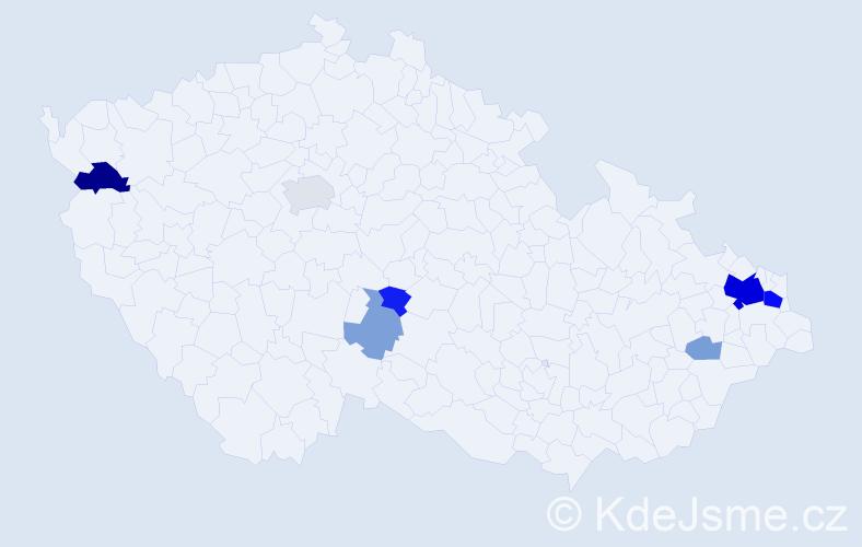 Příjmení: 'Jaglová', počet výskytů 26 v celé ČR