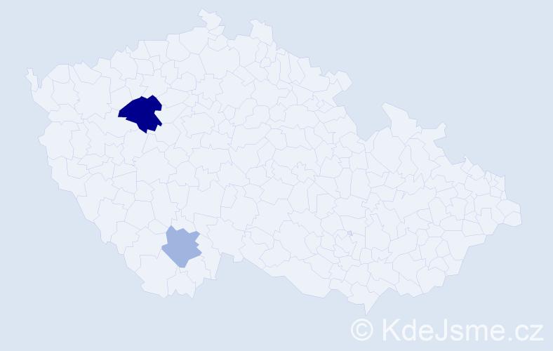 Příjmení: 'Justín', počet výskytů 4 v celé ČR