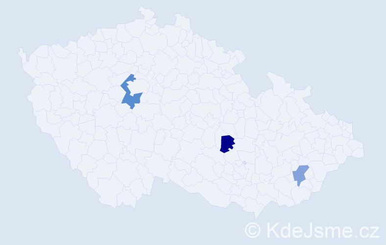 Příjmení: 'Hubayová', počet výskytů 4 v celé ČR