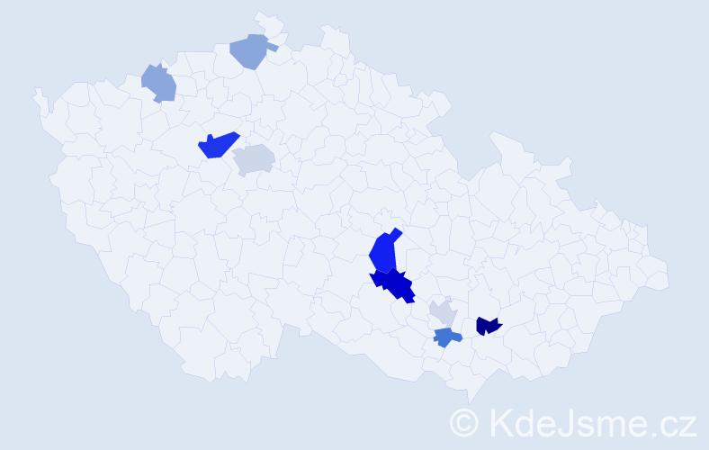 Příjmení: 'Kovtun', počet výskytů 16 v celé ČR