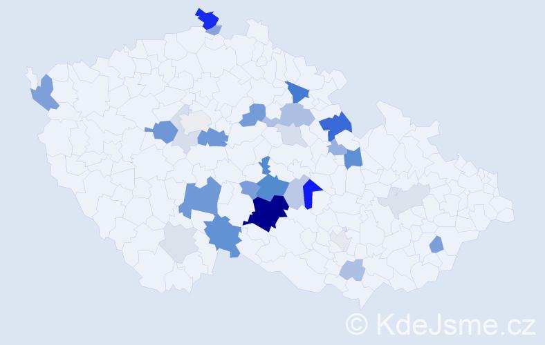 Příjmení: 'Brodinová', počet výskytů 77 v celé ČR