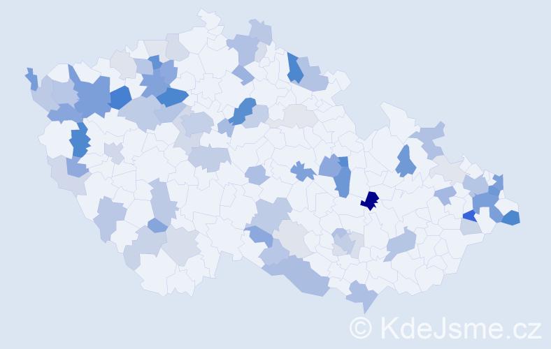 Příjmení: 'Bednárová', počet výskytů 207 v celé ČR