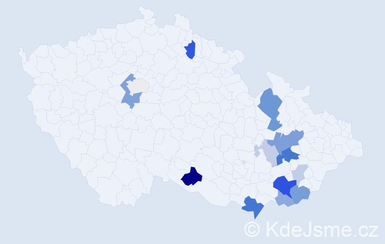 Příjmení: 'Inderková', počet výskytů 37 v celé ČR