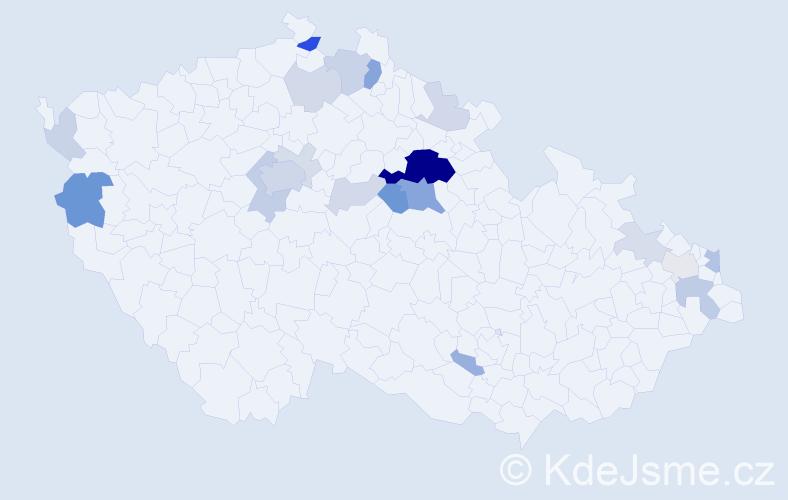 Příjmení: 'Heteš', počet výskytů 67 v celé ČR