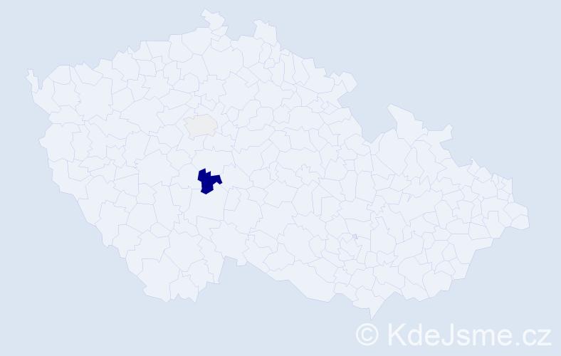 Příjmení: 'Kapela', počet výskytů 3 v celé ČR