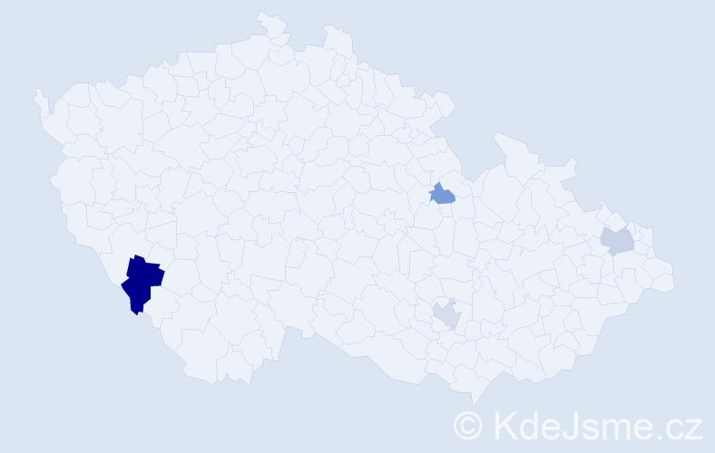 Příjmení: 'Časko', počet výskytů 15 v celé ČR