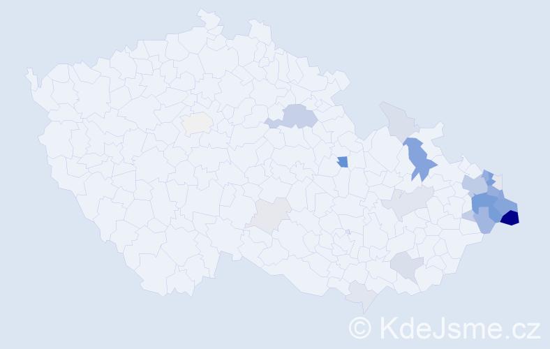 Příjmení: 'Čečotková', počet výskytů 91 v celé ČR