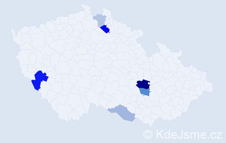 Příjmení: 'Kárl', počet výskytů 13 v celé ČR