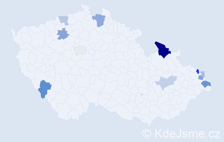 Příjmení: 'Blaník', počet výskytů 18 v celé ČR