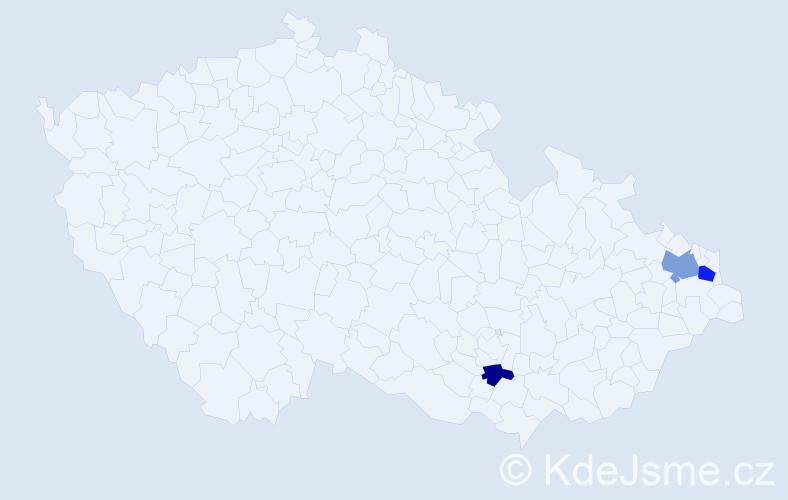 Příjmení: 'Elinger', počet výskytů 5 v celé ČR