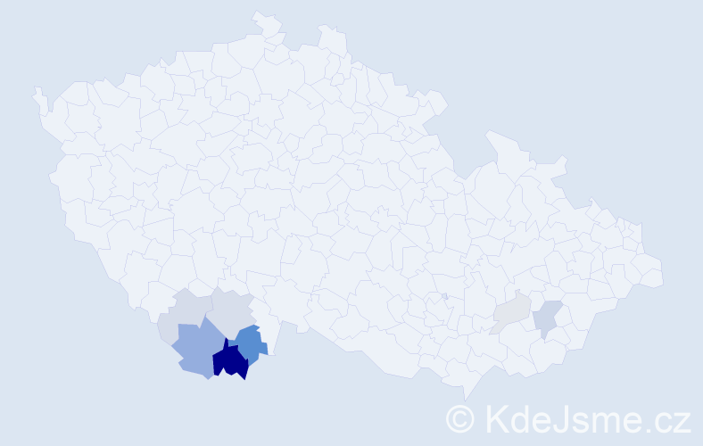 Příjmení: 'Dekret', počet výskytů 26 v celé ČR