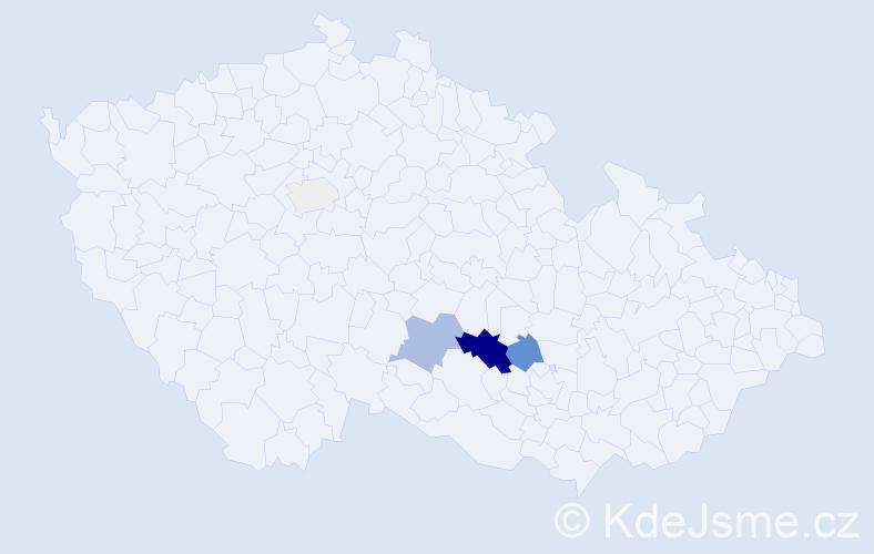 Příjmení: 'Datínský', počet výskytů 11 v celé ČR