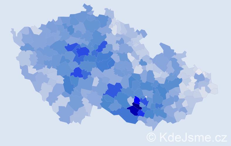 Příjmení: 'Procházková', počet výskytů 16464 v celé ČR