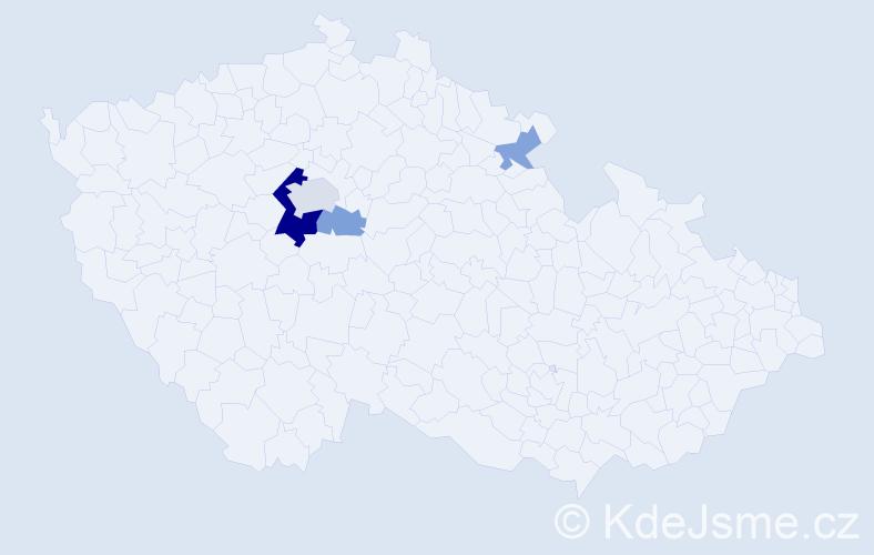 Příjmení: 'Kopanica', počet výskytů 10 v celé ČR