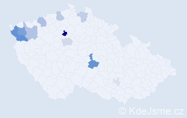 Příjmení: 'Bärtlová', počet výskytů 19 v celé ČR