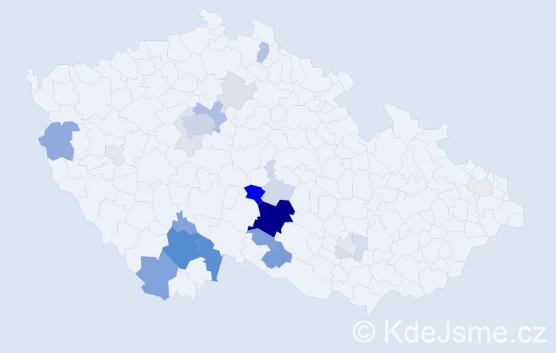 Příjmení: 'Frantál', počet výskytů 81 v celé ČR