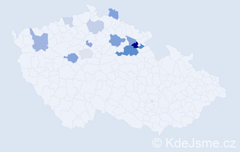 Příjmení: 'Jahodková', počet výskytů 26 v celé ČR