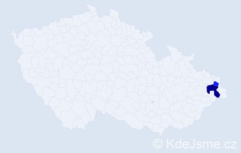Příjmení: 'Kalinčík', počet výskytů 5 v celé ČR
