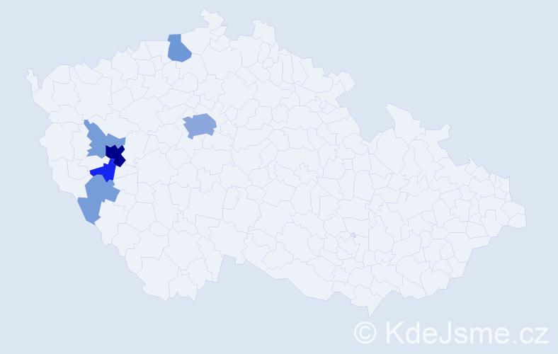 Příjmení: 'Bluďovský', počet výskytů 22 v celé ČR