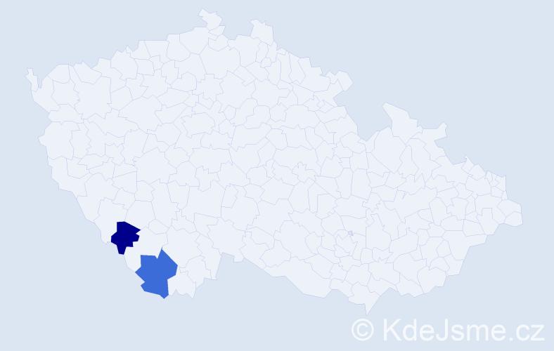 Příjmení: 'Čertická', počet výskytů 7 v celé ČR