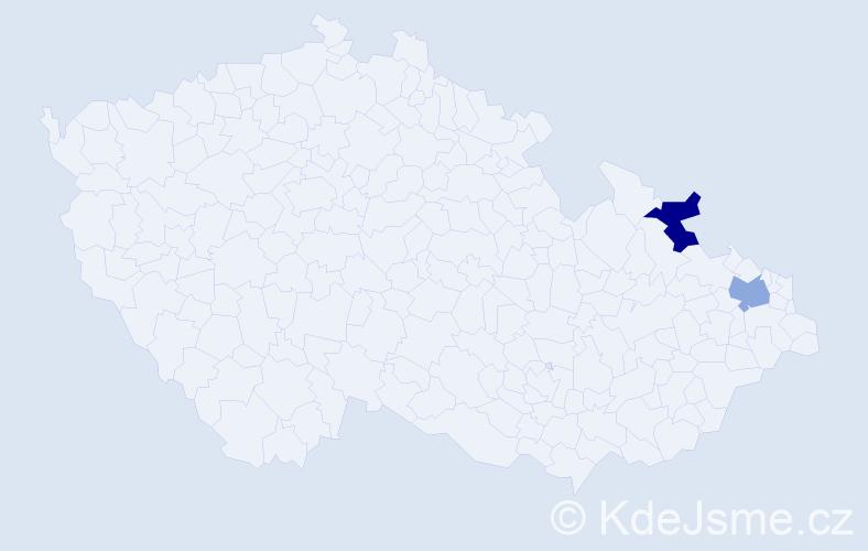 Příjmení: 'Illanicová', počet výskytů 2 v celé ČR