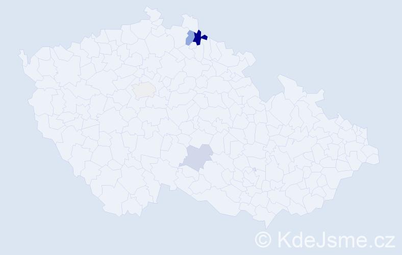 Příjmení: 'Ďureková', počet výskytů 8 v celé ČR