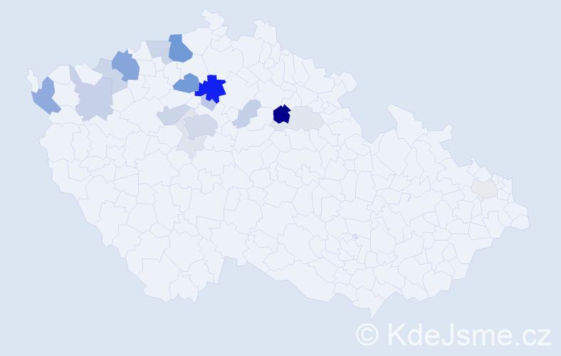 Příjmení: 'Jindráček', počet výskytů 58 v celé ČR