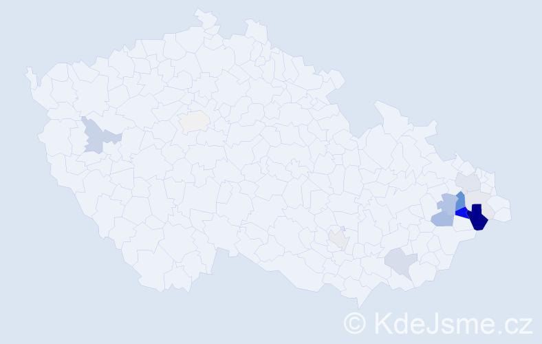 Příjmení: 'Cochlar', počet výskytů 43 v celé ČR