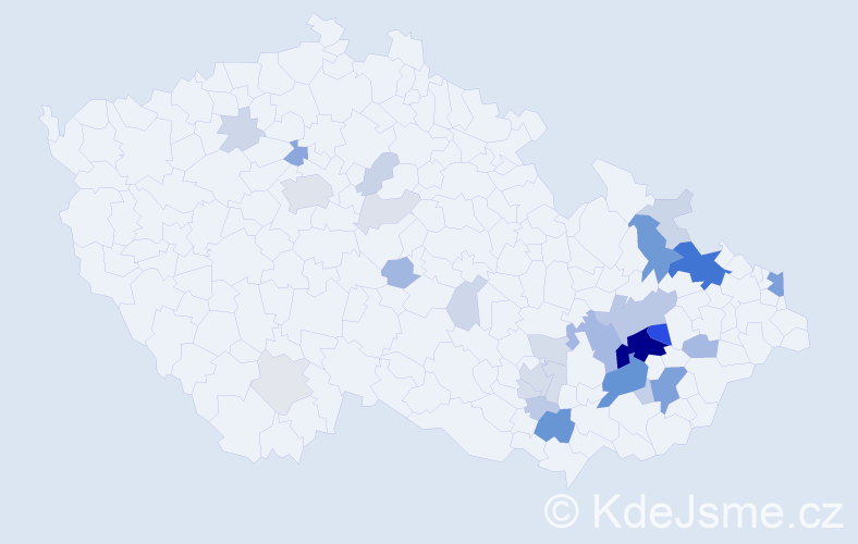 Příjmení: 'Krybusová', počet výskytů 104 v celé ČR