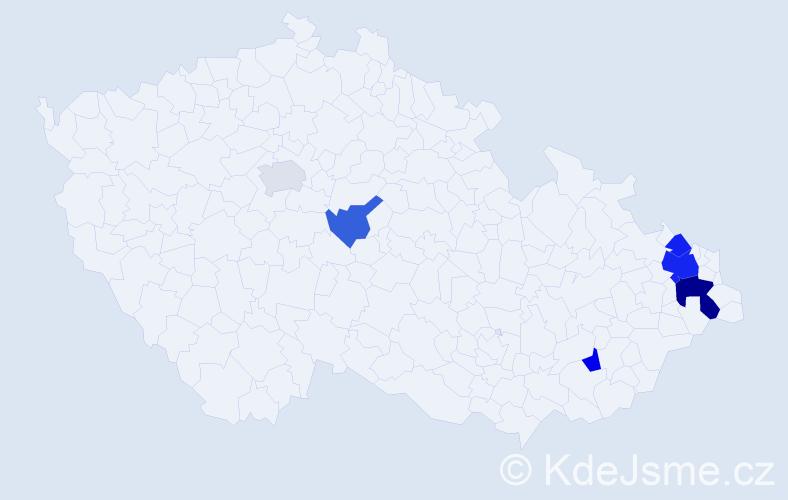 Příjmení: 'Chotárová', počet výskytů 12 v celé ČR