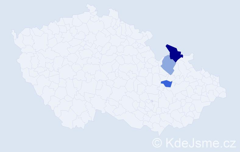 Příjmení: 'Čiscoň', počet výskytů 5 v celé ČR