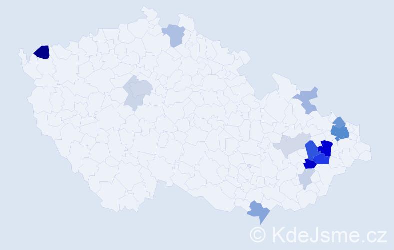 Příjmení: 'Irglová', počet výskytů 47 v celé ČR