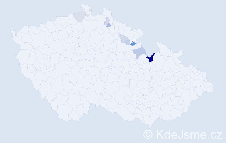 Příjmení: 'Fňouk', počet výskytů 17 v celé ČR