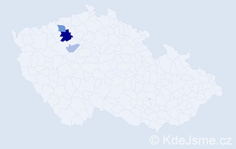 Příjmení: 'Brindler', počet výskytů 13 v celé ČR