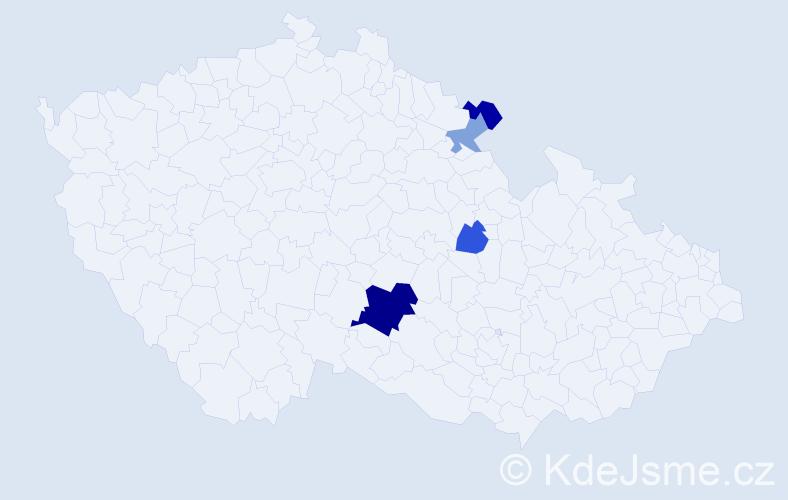 Příjmení: 'Burdichová', počet výskytů 8 v celé ČR